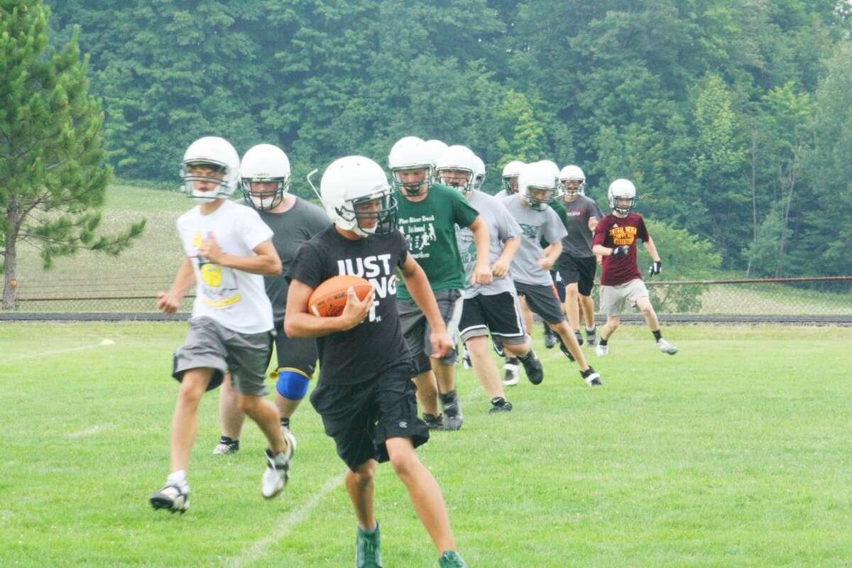 camp: Pine River football players go through a set of drills last week. (Herald Review/John Raffel)