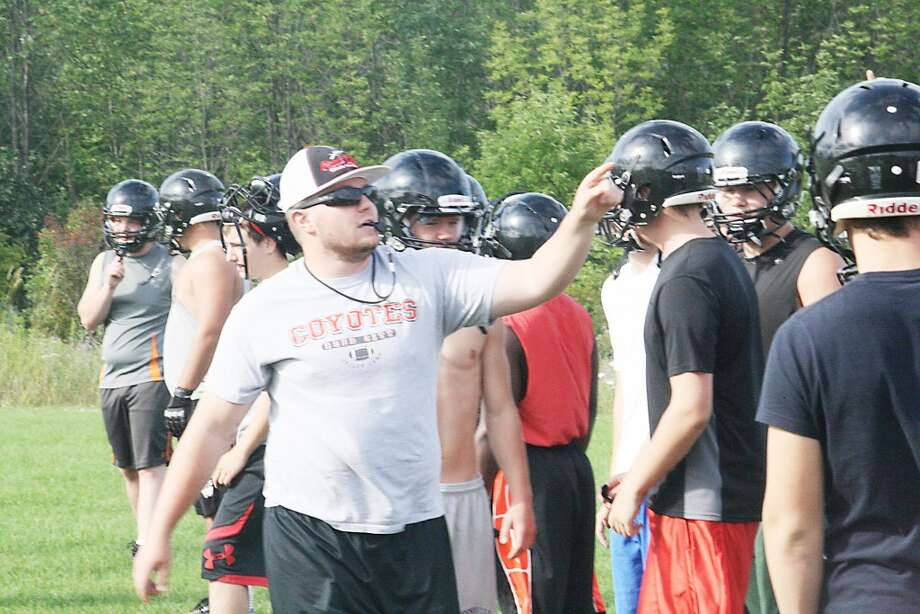 Skills camp: Reed City football coaches and players get ready for a skills camp last week. (Herald Review/John Raffel)