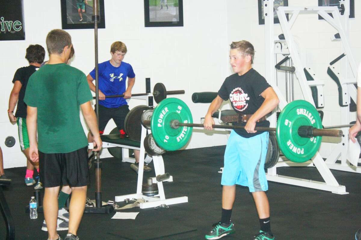 Weight lifting: Pine River football players have been lifting weights on a steady basis. (Herald Review/John Raffel)