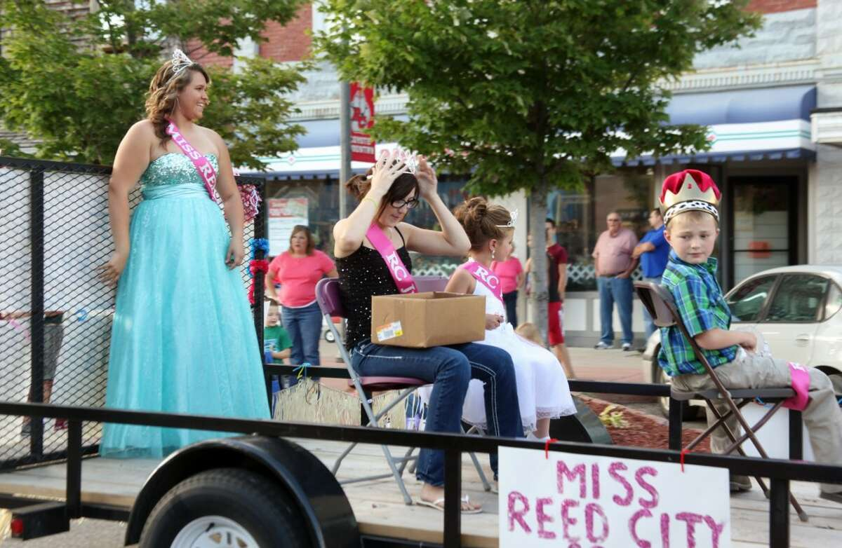 REED CITY ROYALTY: Miss Reed City Taylor Holmes and other youth who were crowned in Thursday's pageant ride in the parade on Friday.