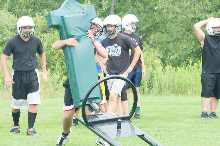 Pine River football players go through drills at a recent practice. (Herald Review/John Raffel)