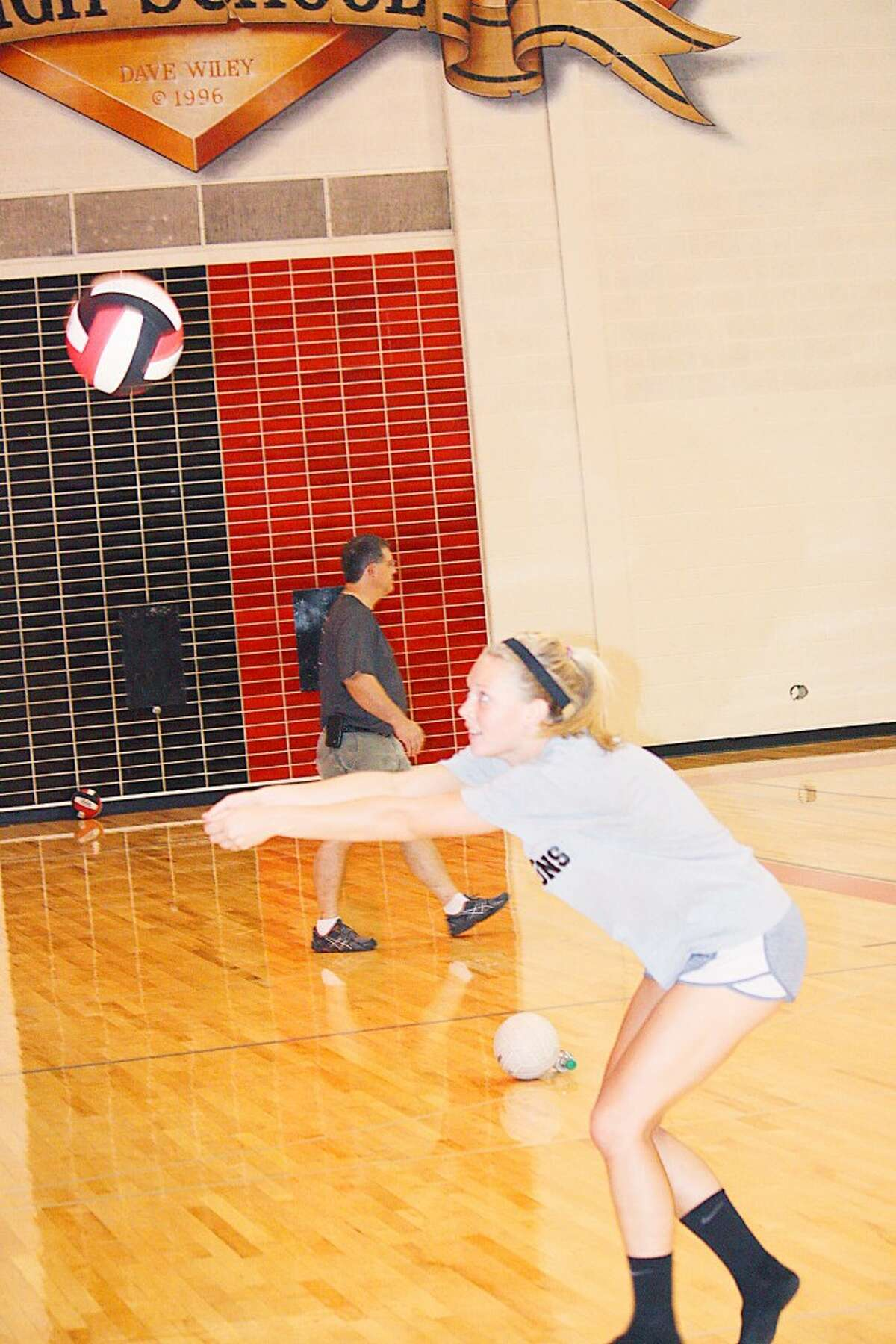 Volleyball: Natalie Westoff works on her passing at a Reed City practice. (Herald Review/John Raffel)