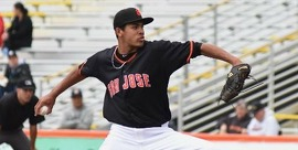 San Jose Giants pitcher Aaron Phillips faced only 28 batters in throwing a one-hit shutout Sunday against Inland Empire.