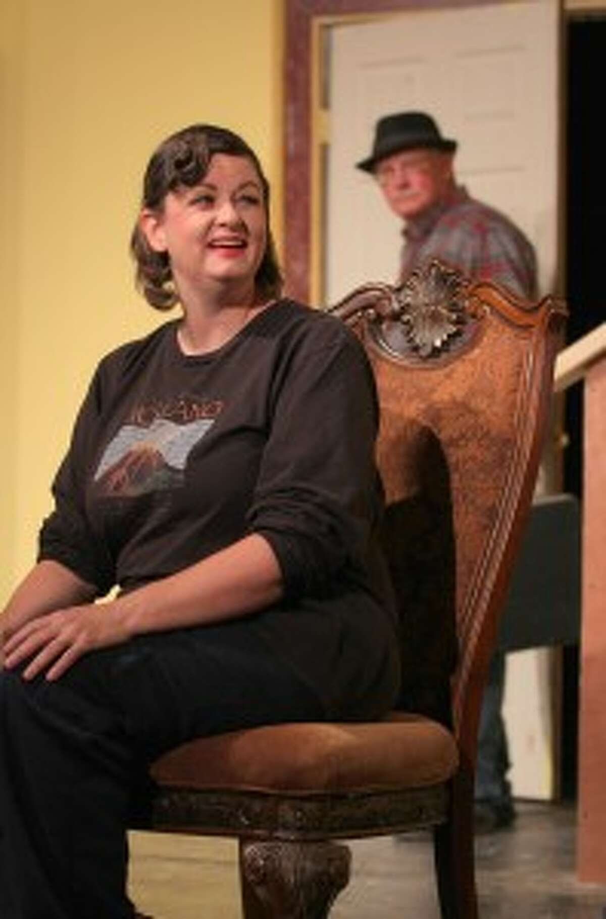 """ON STAGE: Playing the role of mystery writer Crane Hammond, Melissa Langworthy runs lines during a rehearsal. """"Exit the Body"""" is a comedy mixed with thrill and mystery in three acts. It centers around a popular crime writer on vacation in New England and strange encounters which occur."""