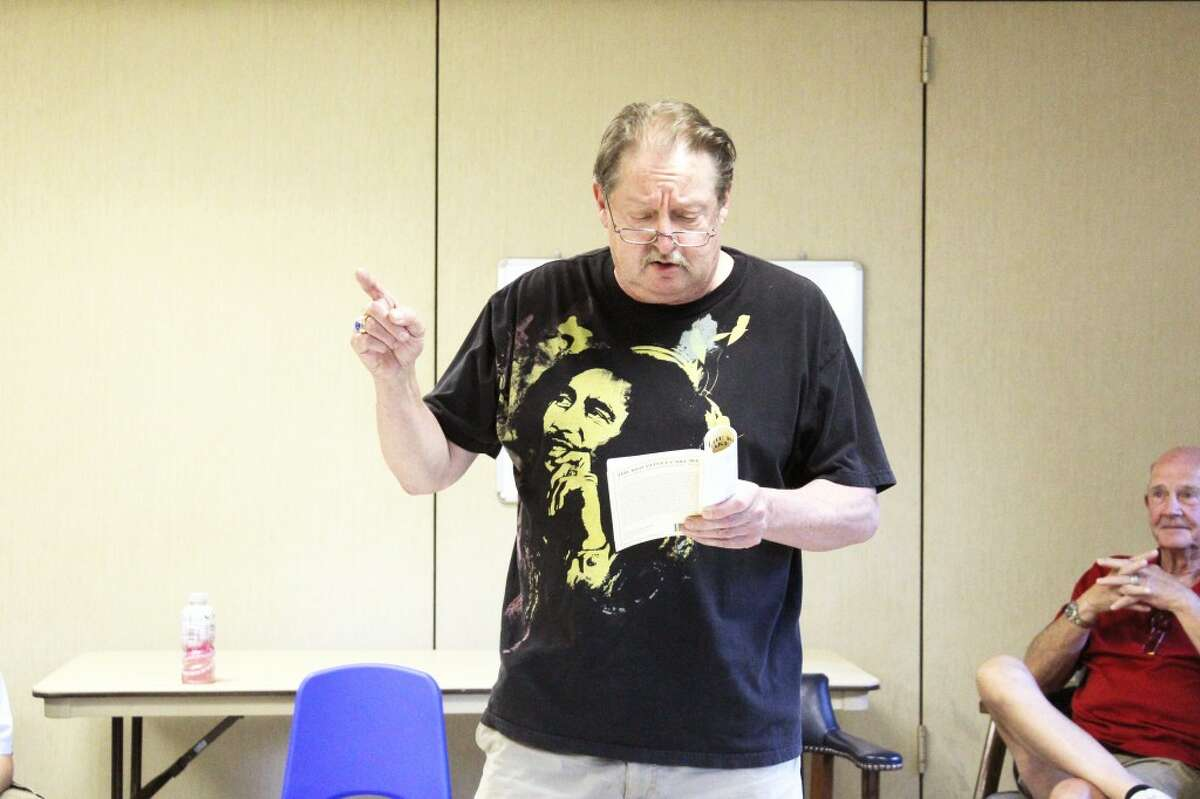 in character: David Johnson puts himself in character during the auditions, which took place on Aug. 27, 28 and 29. (Herald Review photo/Karin Armbruster)