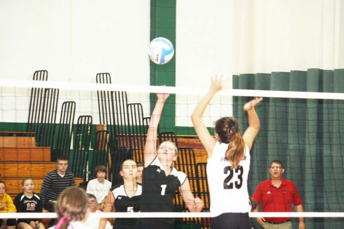 Michaela Reed (1) of Reed City goes after the ball against Pine River's Kyla Johnson (23). (Herald Review/John Raffel)