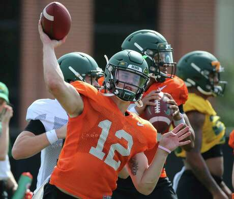 Baylor quarterback Charlie Brewer throws downfield during the first week of NCAA college football practice Friday, Aug. 9, 2019, in Waco, Texas. (Rod Aydelotte/Waco Tribune Herald, via AP)