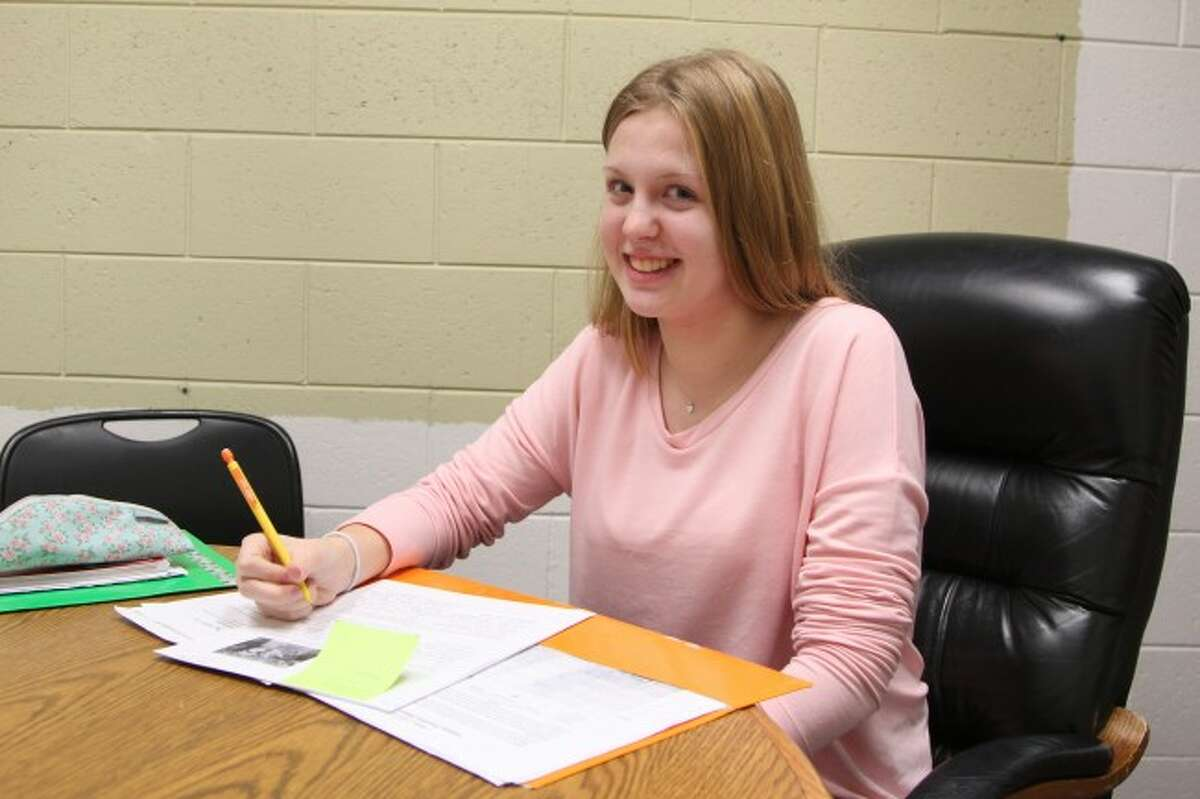 ADJUSTMENTS: Lara Oelke, studying at Chippewa Hills High School from Schiefbahn, Germany, and said she has been enjoying the culture of America, as well as taking different classes than she would be in her home country.