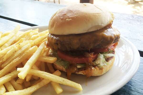 The Flats Signature Burger with house fries
