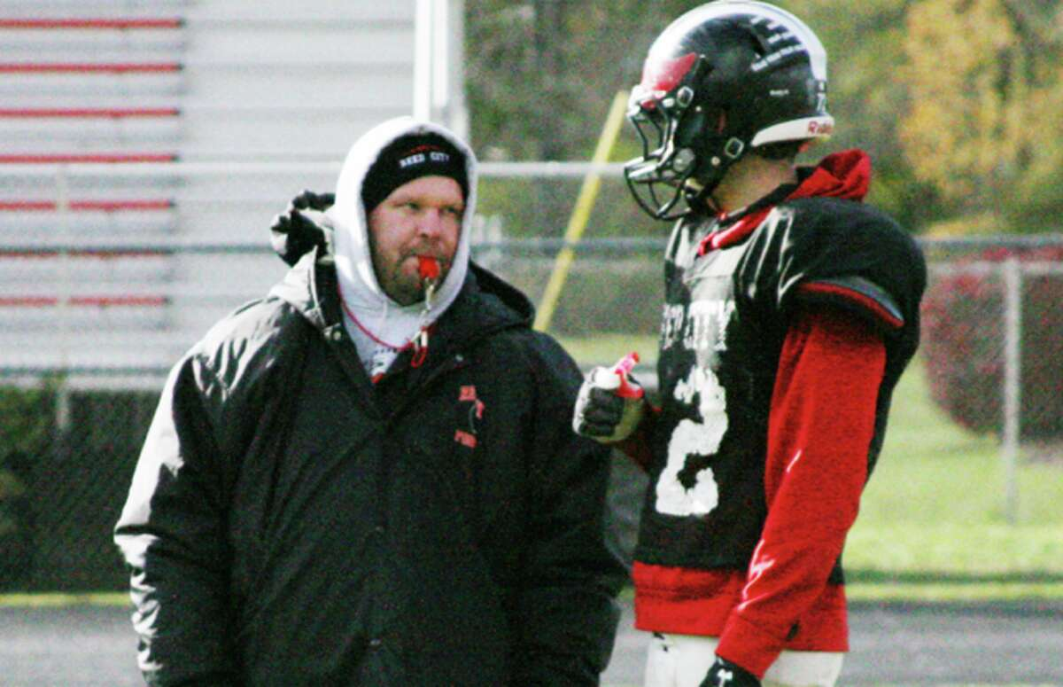 playoff: Coach Monty Price and the Reed City Coyotes will host Clare Friday night in playoff action. (Herald Review photo/Greg Buckner)