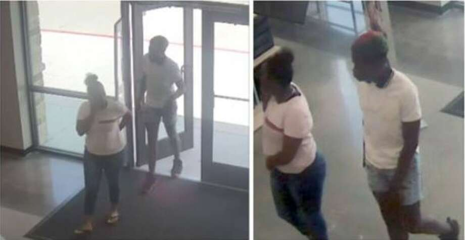 A man and woman seen in surveillance footage are being sought for allegedly stealing shoes from a New Caney Rack Rooms Shoes. Photo: Courtesy Of The Montgomery County Sheriff's Office