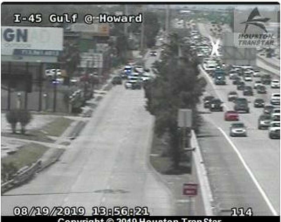 Police said a suspect was attempting to flee from officers Monday when she was stuck by at least one vehicle and seriously injured. Photo: Houston TranStar