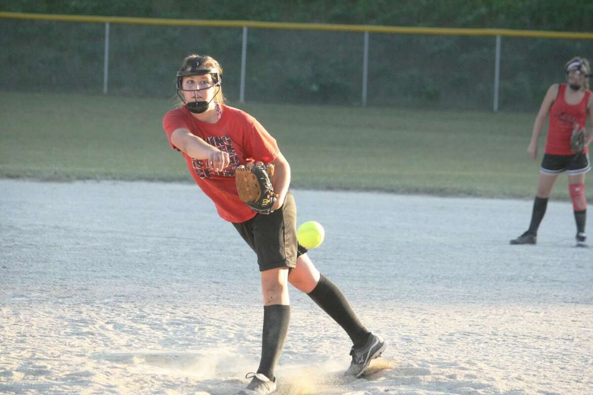 TO THE PLATE: Brittani Yarger delivers a pitch for Reed City against Pine River last week. (Herald Review photo/John Raffel)