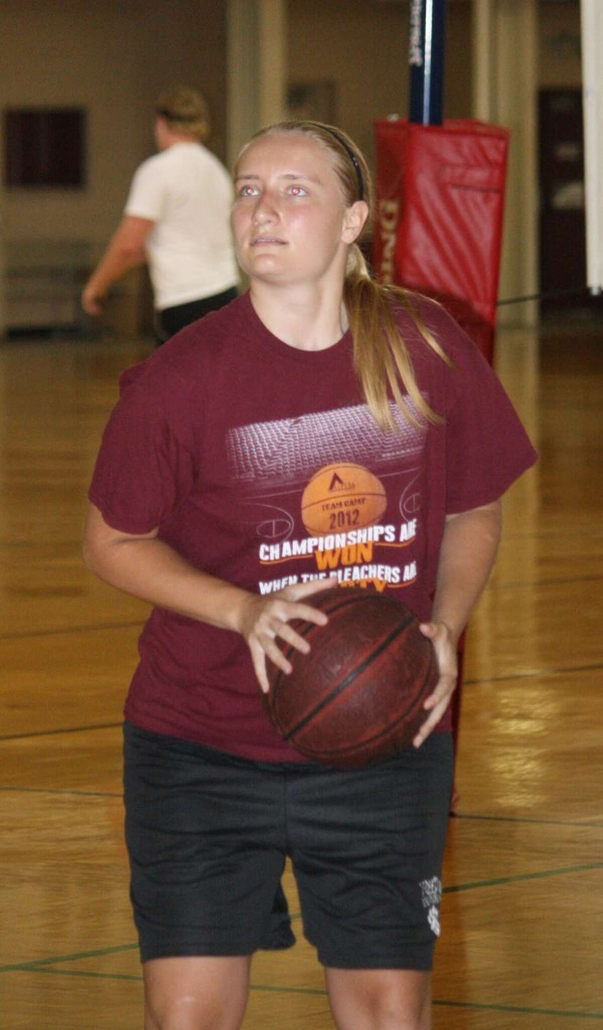 NEXT LEVEL: Courtanee Stieg of Reed City and Alpena Community College, works on her shooting at the Ferris Student Recreational Center.