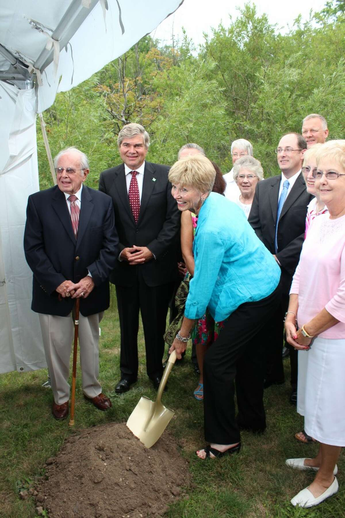 GROUND BREAKING: Susan Wheatlake (center) breaks ground for the $8.9 million Susan P. Wheatlake Regional Cancer Center. The facility is scheduled to open in summer 2013.