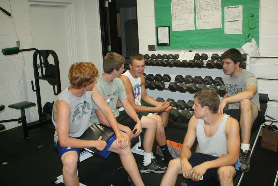 Pine River football seniors discussing leadership prior to a recent practice are: from left, Ethan Whitley, Maverick Martin, Devin Ruppert, Tom Miller and Cason Rawson. (Herald Review photo/John Raffel)
