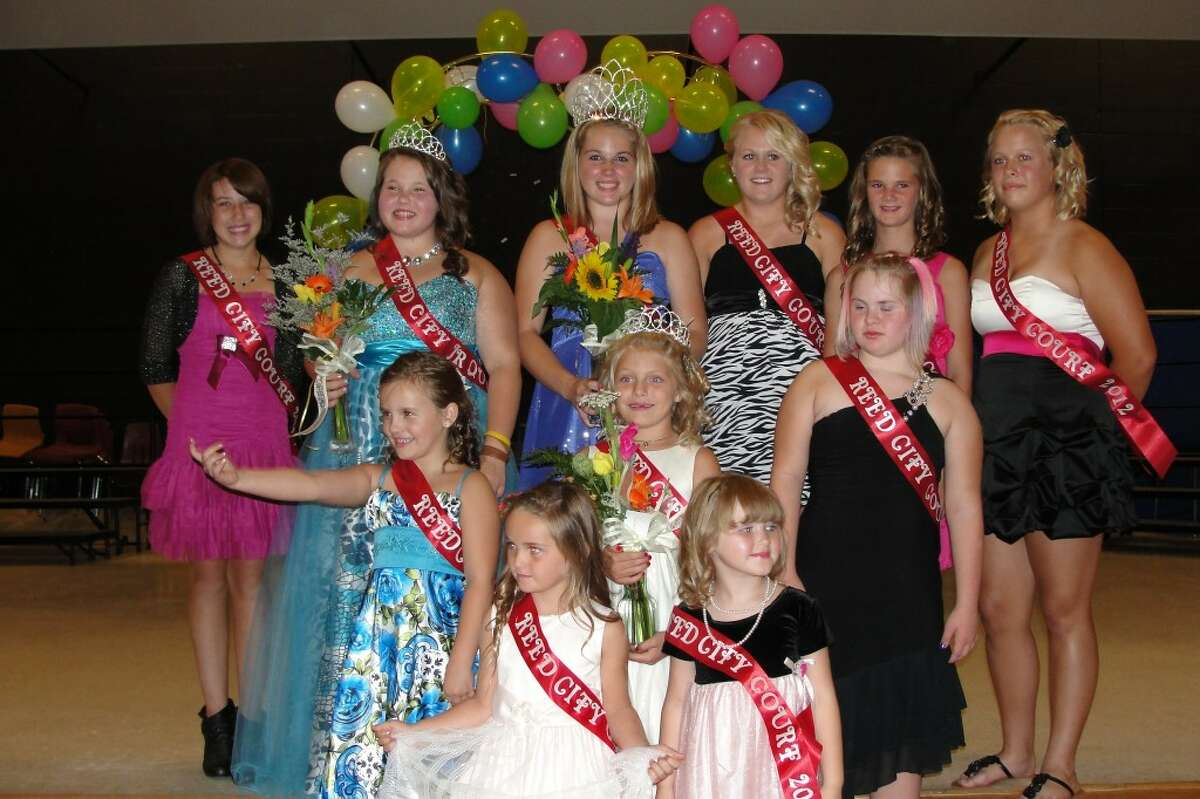 REED CITY ROYALTY: Miss Reed City Makayla Fender (left), poses with Junior Miss Reed City Madison Sunderlin, Princess Emma Powell and court. The girls were judged on a judge interview, talent, casual and formal wear.