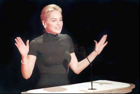 Actress Sharon Stone speaks at the Academy Awards show in Los Angeles on Monday , March 25, 1996, wearing her $22, off-the-rack, Gap turtleneck shirt. (AP Photo/Los Angeles Daily News, Michael Owen Baker) Photo: MICHAEL OWEN BAKER / ST