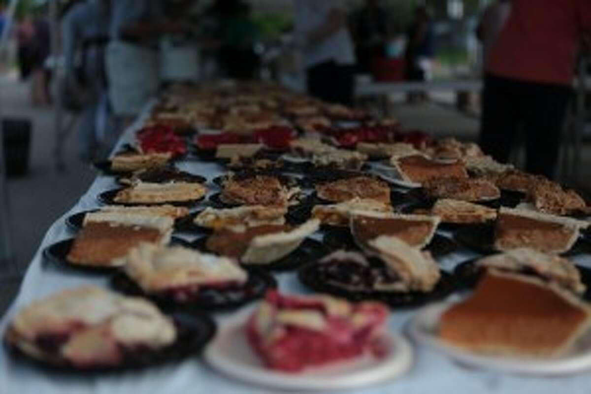 HOMEMADE TREATS: Members of the Hospital Auxiliary baked dozens of pies, including rhubarb, apple and cherry, for Thursday night's Block Party.