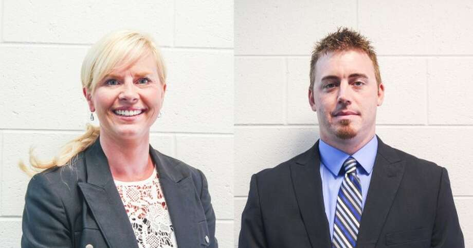 Jaime Heuker and Peter Thompson have joined the Pine River Area School District as administrators. They pair's positions were approved by the board of education at the July 2 meeting. (Herald Review photos/Karin Armbruster)