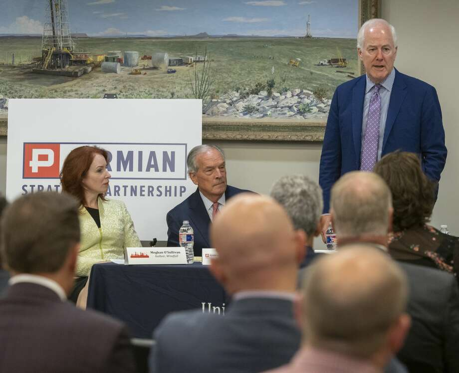 Senator John Cornyn speaks 08/19/19 as Meghan O'Sullivan, former deputy national security adviser on Iraq and Afghanistan, Don Evans with Permain Strategic Partnership listen during the round table discussion with PSP and Texas Transportation Commission. Tim Fischer/Reporter-Telegram Photo: Tim Fischer/Midland Reporter-Telegram