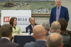 Senator John Cornyn speaks 08/19/19 as Meghan O'Sullivan, former deputy national security adviser on Iraq and Afghanistan, Don Evans with Permain Strategic Partnership listen during the round table discussion with PSP and Texas Transportation Commission. Tim Fischer/Reporter-Telegram