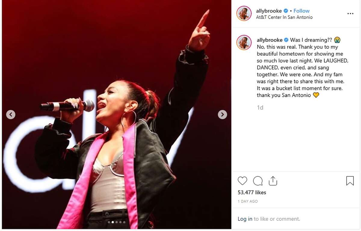 San Antonio's Ally Brooke thanked her fans for showing her love while she performed in her hometown last weekend.