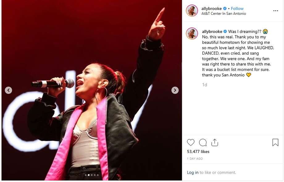 San Antonio's Ally Brooke thanked her fans for showing her love while she performed in her hometown last weekend. Photo: Instagram: Ally Brooke