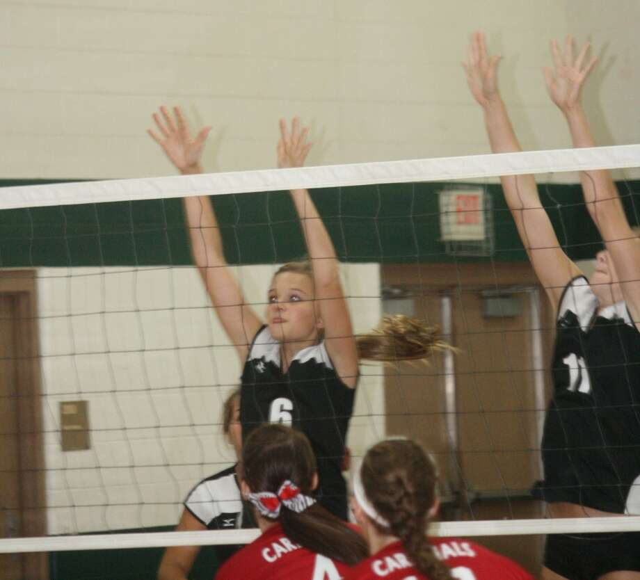 DENIED: Heather Tacey (6) of Reed City goes up for a block in recent action. (Herald Review photo/John Raffel)