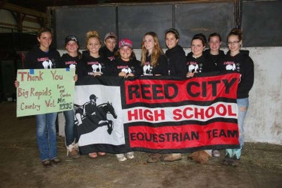 Reed City equestrian team members: from left, Miranda Battle, Lily Heald, Ciarra Engstrom, Kameron Connell, Ginny Miller, Adrianna Pelton, Lauren Voelker, Kayla Pollaski, Madeline Harrington and Chelsea Connell