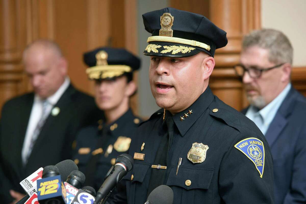 New Haven Police Chief Otoniel Reyes speaks at a press conference at City Hall in New Haven.