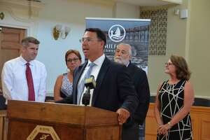 Milford Mayor Ben Blake announces at a press conference in Milford Aug. 19, 2019 that the city has met the state requirements for a moratorium on affordable housing developments allowed under the state's 8-30g housing statute. With him at Milford City Hall are, from left, state Sen. James Maroney (D-14), and state Representatives Kim Rose (D-118), Charles Ferraro (R-117) and Kathy Kennedy (R-119).