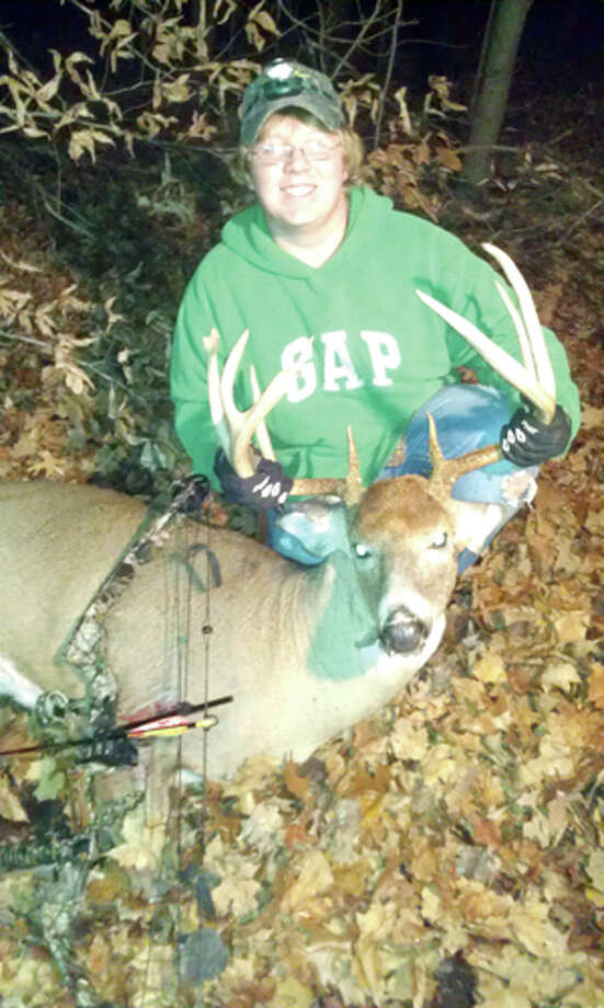 TROPHY BUCK: Kalub Robinson of Chase shot this 9-point buck with his bow recently. (Courtesy photo)
