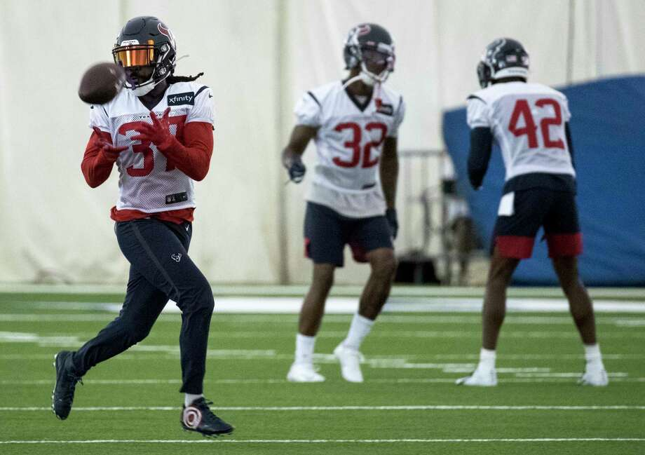 Houston Texans strong safety Jahleel Addae (37) makes a catch during training camp at the Methodist Training Center on Monday, Aug. 19, 2019, in Houston. Photo: Brett Coomer, Staff Photographer / © 2019 Houston Chronicle