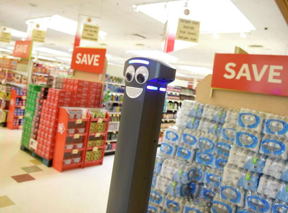 Marty the robot roams the aisles of the West Main Street Stop & Shop in Stamford, Conn. Monday, Aug. 19, 2019. Marty is programmed to scan the aisles for spills and notify real human employees of any potential problems. Photo: Tyler Sizemore / Hearst Connecticut Media / Greenwich Time