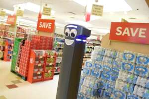 Marty the robot roams the aisles of the West Main Street Stop & Shop in Stamford, Conn. Monday, Aug. 19, 2019. Marty is programmed to scan the aisles for spills and notify real human employees of any potential problems. Stop & Shop now has a Marty in 81 of its 92 Connecticut stores.