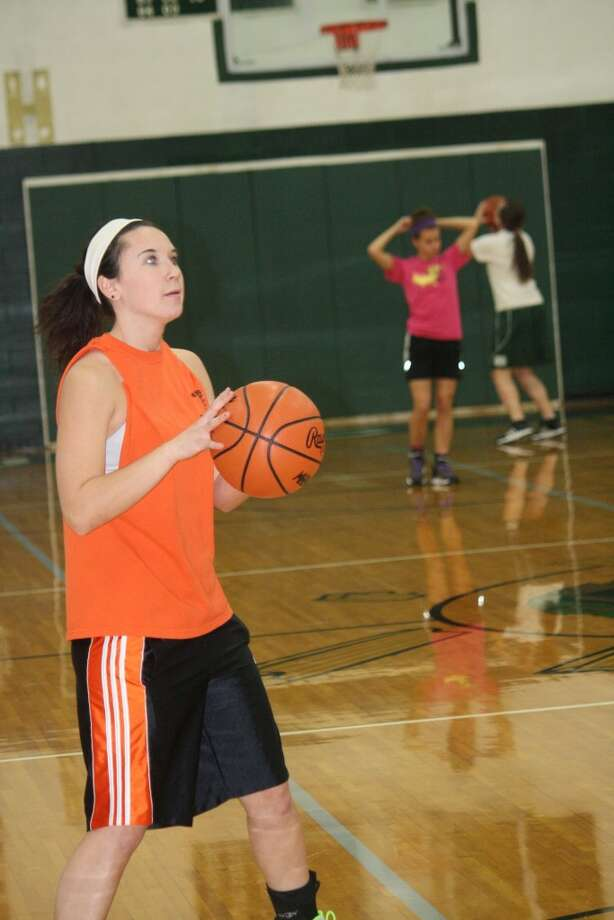 TRAINING: Cayman Gatt of Pine River works on her shooting at a recent practice. (Herald Review photo/John Raffel)