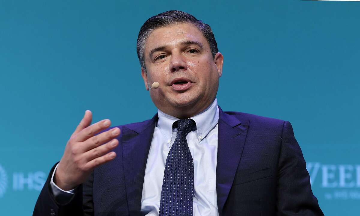 """Lorenzo Simonelli, Chairman and CEO of Baker Hughes (BGHE), comments during a panel session titled """"Global Gas Innovators"""" on the third day of CERAWeek by IHS Markit at the Hilton Americas-Houston Hotel Wednesday, Mar. 13, 2019 in Houston, TX."""