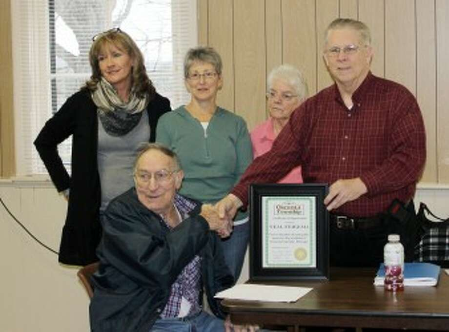 RETIREMENT: (Above) Neal Fiekema was presented with a Certificate of Appreciation to honor his many decades of loyal public service to the residents of Osceola Township at a retirement party on Nov. 14. Pictured (from left) is Fiekema; Melanie Wirth, Osceola Township clerk; Connie Holmes, Osceola Township trustee; Darlene Schroeder, Osceola Township treasurer; and Paul W. Brown, Osceola Township supervisor. (Courtesy photo)