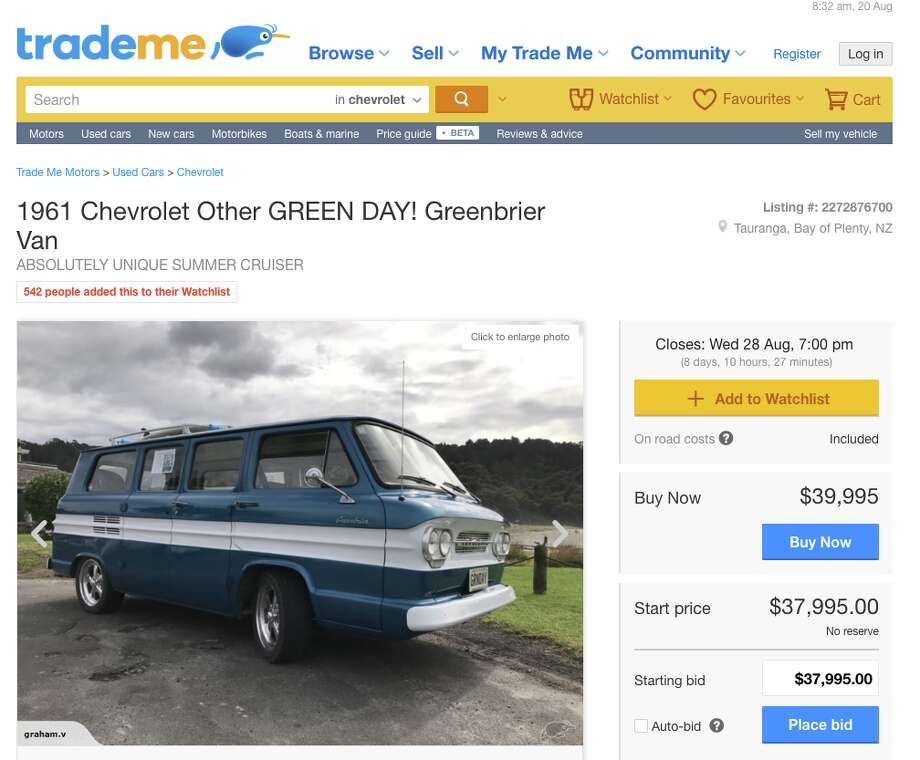 Green Day frontman Billie Joe Armstrong's old surf van is being sold on a New Zealand auction website. Photo: Screenshot Via Trade Me