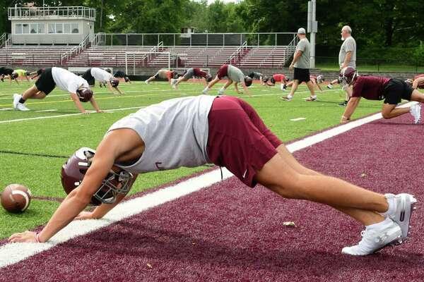 The Burnt Hills-Ballston Lake football team holds its first practice on Monday, Aug. 19, 2019 in Burnt Hills, N.Y. (Lori Van Buren/Times Union)