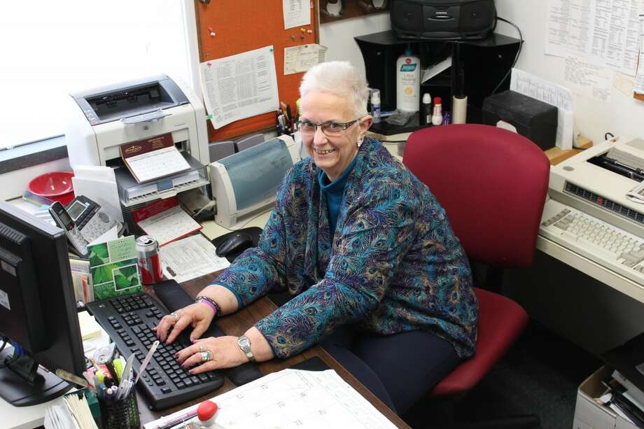 RETIREE: Linda Backus, 65, retired last week after 41 years as the Osceola County probate register. Backus worked under the tenure of four judges and the switch from typewriters to computers. (Herald Review photos/Sarah Neubecker)