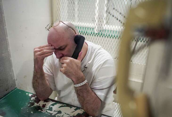 Larry Swearingen, a death row inmate, talks to Houston Chronicle reporter Keri Blakinger at TDCJ's Polunsky Unit, on Wednesday, May 8, 2019, in Livingston. Swearingen was convicted in the 1998 killing of 19-year-old Melissa Trotter.