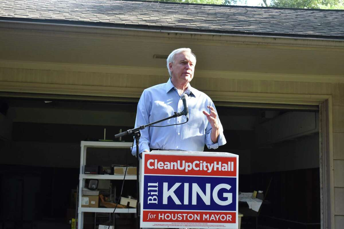 Houston mayoral candidate Bill King lays out a seven-part plan Monday, Aug. 19, 2019, aimed at mitigating future flooding, with proposals to push development back from bayous and have builders pay into a fund used to build detention basins.