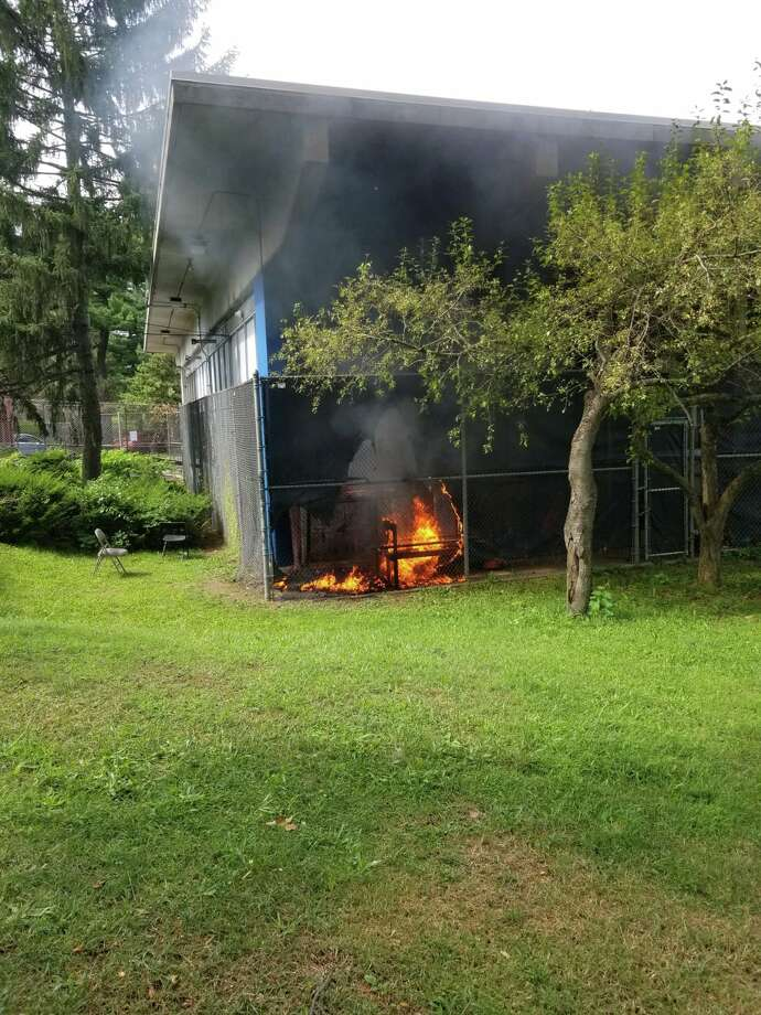 Minor fire breaks out near bathrooms at the Swinburne Park in Albany on Monday, Aug. 19, 2019. (Photo courtesy of the Albany City Department of Recreation) Photo: Photo Courtesy Of The Albany City Department Of Recreation