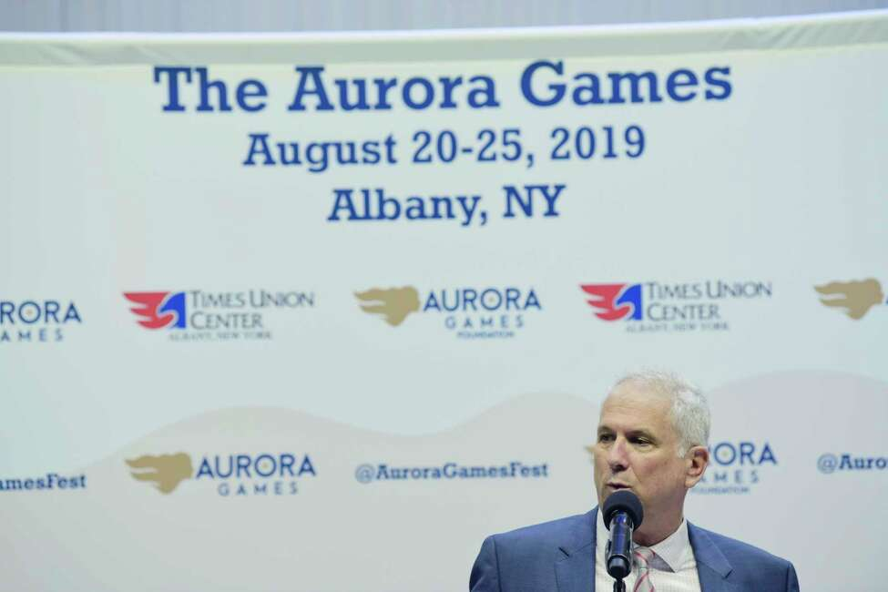 Jerry Solomon, creator and executive producer of the Aurora Games, talks about the event during a press conference at The Times Union Center on Monday, Oct. 15, 2018, in Albany, N.Y. (Paul Buckowski/Times Union)