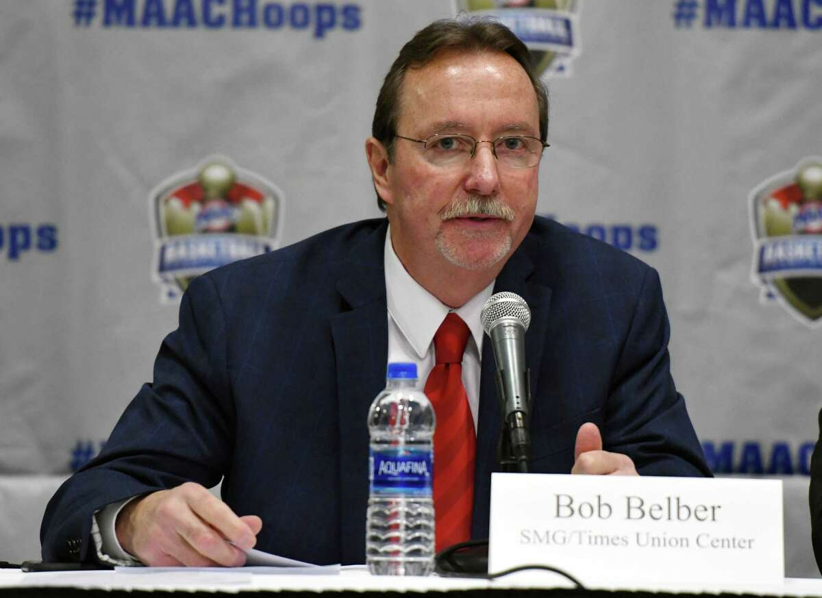 SMG General Manager Bob Belber speaks during a press conference for the 2019 MAAC MenA?•s and WomenA?•s Basketball Championships on Wednesday, March 6, 2019 at the Times Union Center in Albany, NY. (Phoebe Sheehan/Times Union)
