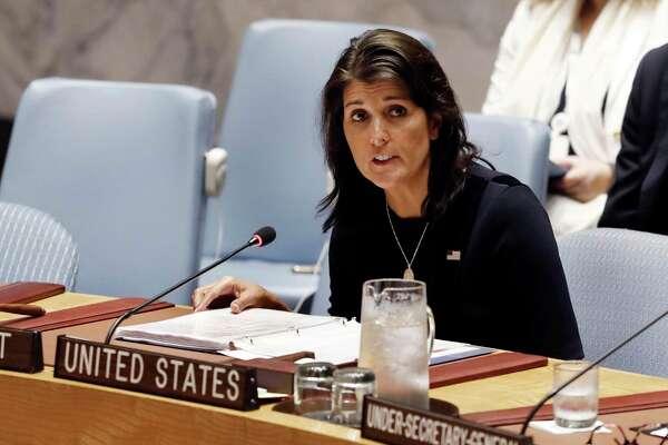 U.S. Ambassador Nikki Haley addresses the United Nations Security Council, Monday, Sept. 17, 2018, at U.N. headquarters. (AP Photo/Richard Drew)