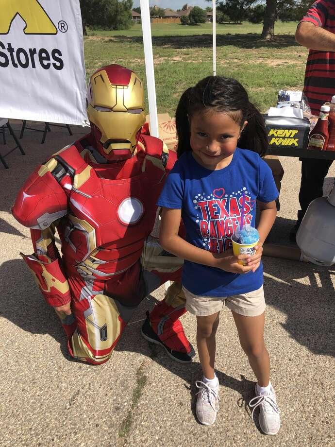 Safety event: Iron Man and Laila Salcido Photo: Courtesy Photo