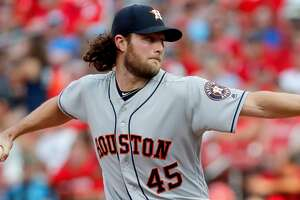 Houston Astros starting pitcher Gerrit Cole throws during the first inning of a baseball game against the St. Louis Cardinals Saturday, July 27, 2019, in St. Louis. (AP Photo/Jeff Roberson)